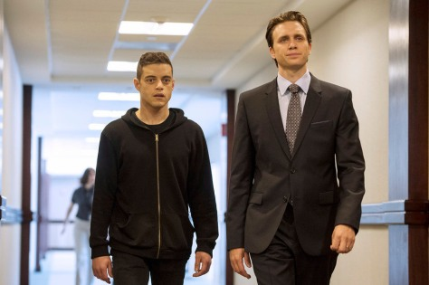 MR. ROBOT -- Rami Malek as Elliot Alderson, Martin Wallstrom as Tyrell Wellick -- (Photo by: David Giesbrecht/USA Network)