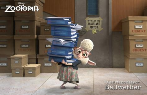 ZOOTOPIA – ASSISTANT MAYOR BELLWETHER, a sweet sheep with a little voice and a lot of wool, who constantly finds herself under foot of the larger-than-life Mayor Lionheart. ©2015 Disney. All Rights Reserved.