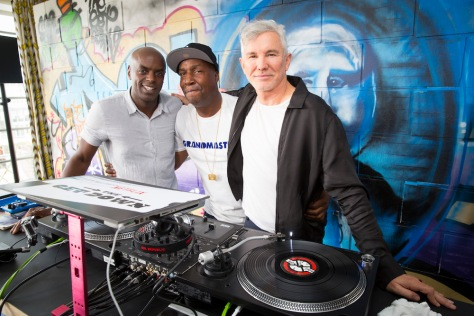 "Nelson George and Grandmaster Flash, executive producers for the Netflix original series ""The Get Down"" and creator Baz Luhrmann appear at a press day in London, England."