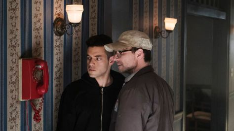 MR. ROBOT -- Pictured: (l-r) Rami Malek as Elliot Alderson, Christian Slater as Mr. Robot -- (Photo by: Peter Kramer/USA Network)