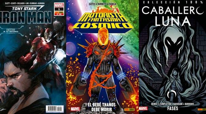 Reseñas Express Marvel: Iron Man 1, Motorista Fantasma Cósmico y Caballero Luna Vol. 8